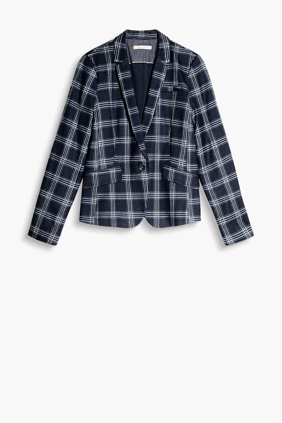 Sophisticated stretch blazer with chic checks and elbow patches