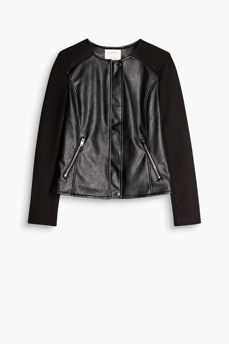 We love new leather looks: fitted fabric mix jacket with stretch sleeves and punk zips