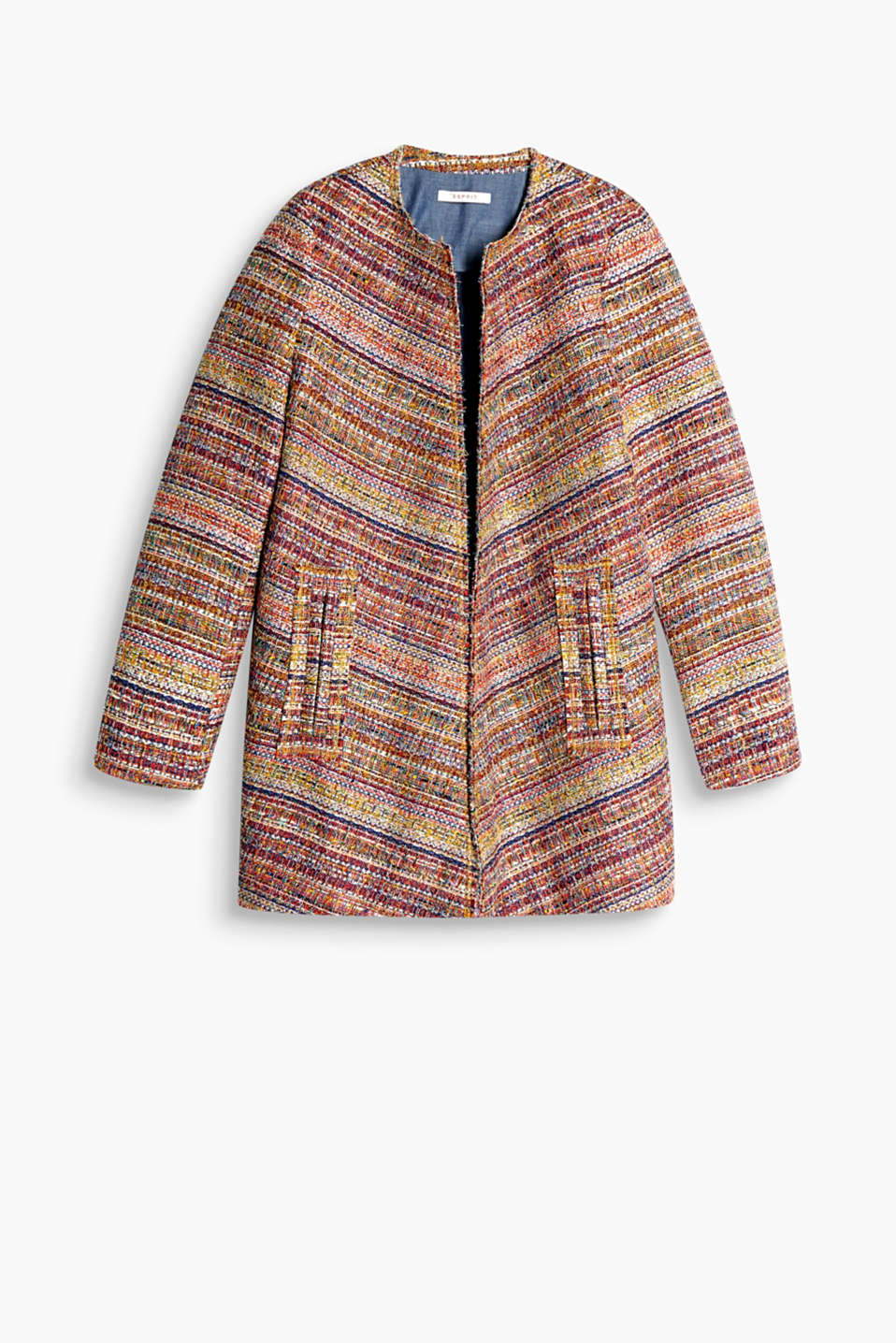 Open indoor coat made of multicoloured blended cotton