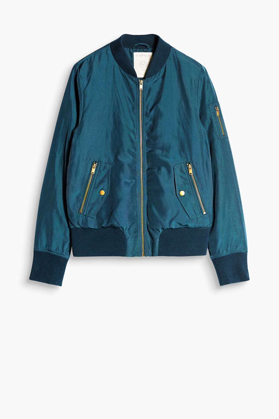 Padded bomber jacket with an exquisite sheen