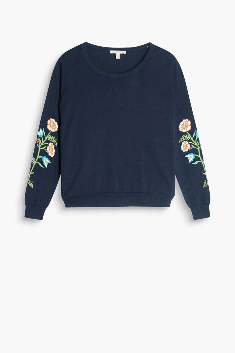 Short fine knit jumper in pure cotton with elaborate floral embroidery