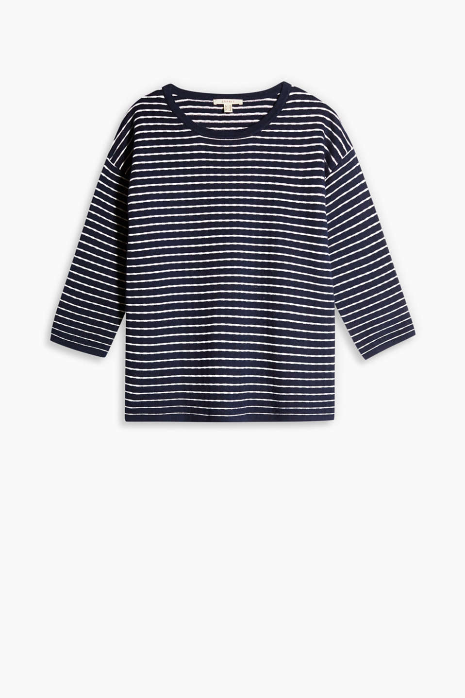 Boxy jumper made of compact knit yarn with textured stripes, 100% cotton