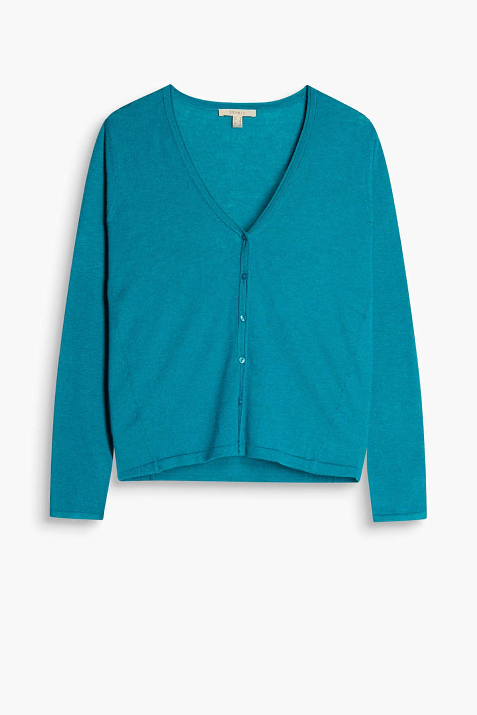 In trendy new colours: silky fine knit basic cardigan