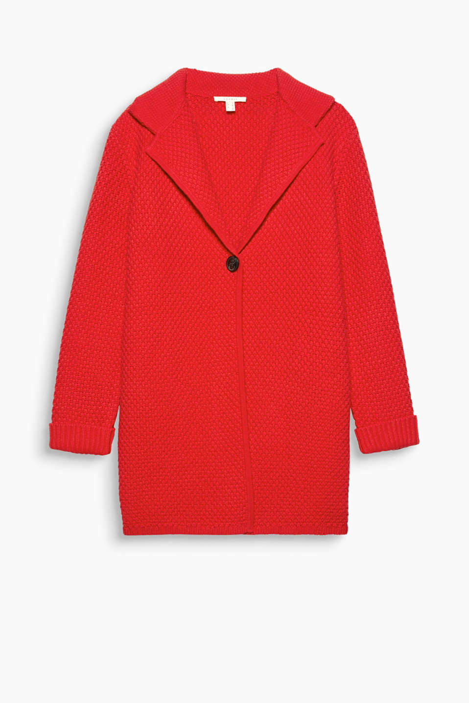 RED IS FUN - Lightweight outerwear for autumn: throw-on style, with a great texture, wide lapel and a button