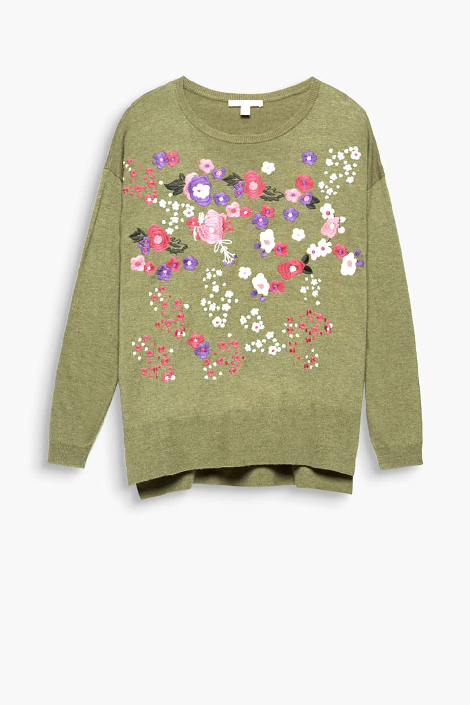 An ocean of flowers on this finely knit piece: jumper with colourful floral embroidery