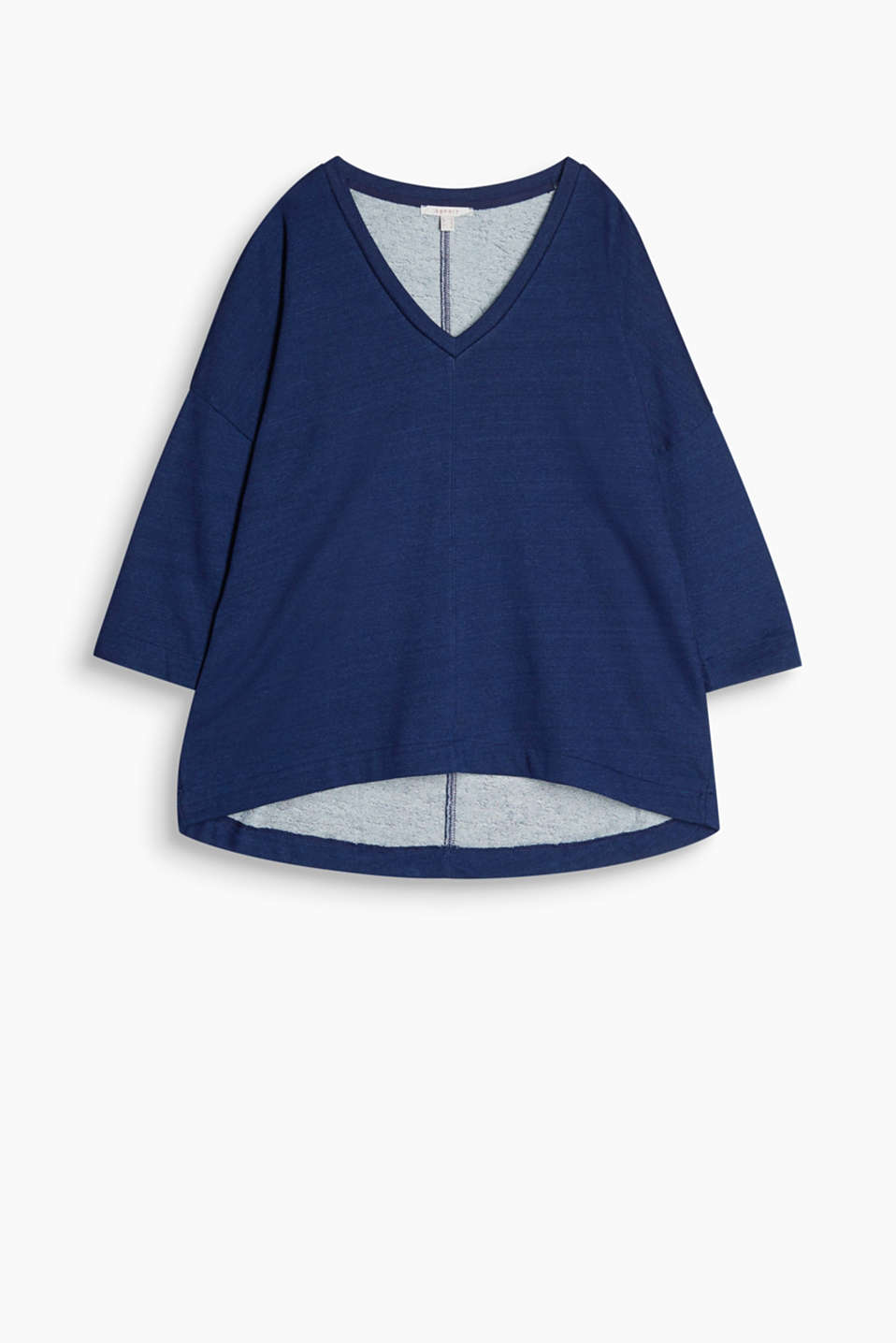 With dropped shoulders and a high-low hem: indigo-coloured sweatshirt in pure cotton