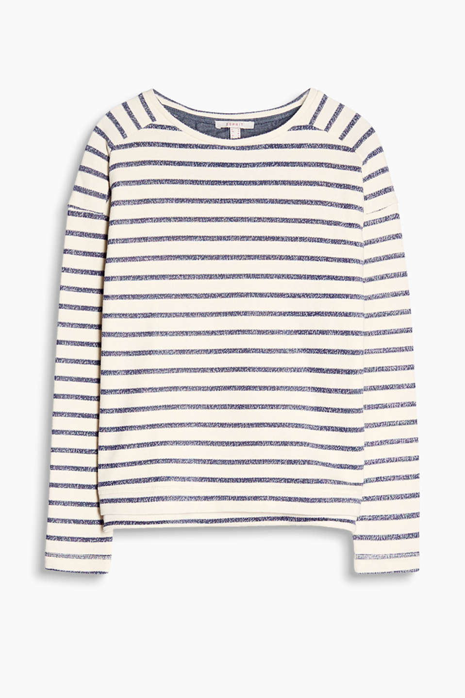 Lightweight sweatshirt with melange stripes and chambray lining