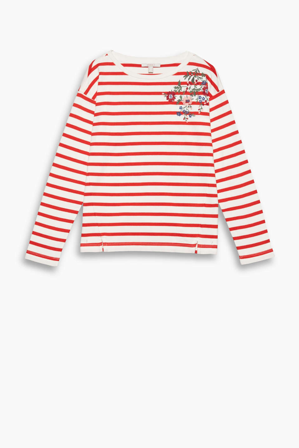 Fantastic: the mix of sporty stripes and floral embroidery gives this sweatshirt its brand new look!