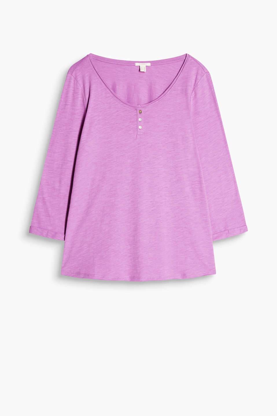 100% cotton T-shirt with a wide round Henley-style neckline and 3/4-length sleeves