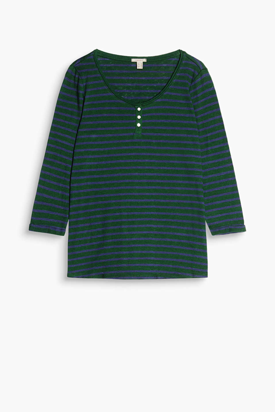 With a stripe pattern: long sleeve top with cropped sleeves, a wide round neckline and button placket