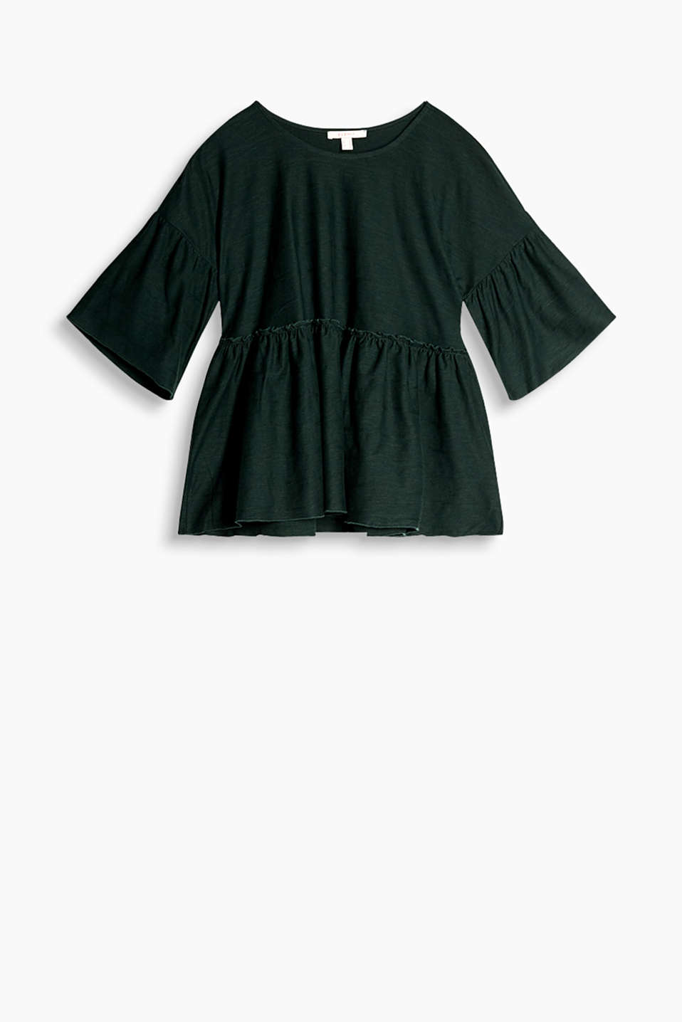 Casual slub jersey top in a fashionable width with a wide peplum and textured stripes