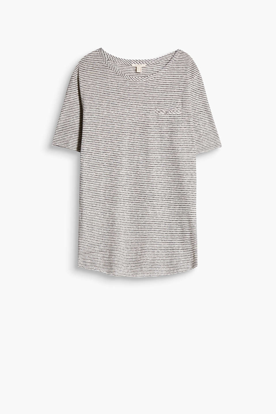 Soft striped T-shirt with unfinished edges in blended cotton with a decorative fake pocket