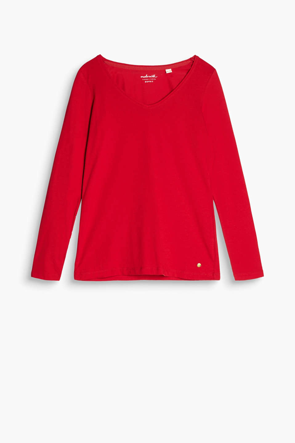 The large V-neckline makes this long sleeve top in soft cotton jersey a flattering feminine piece!