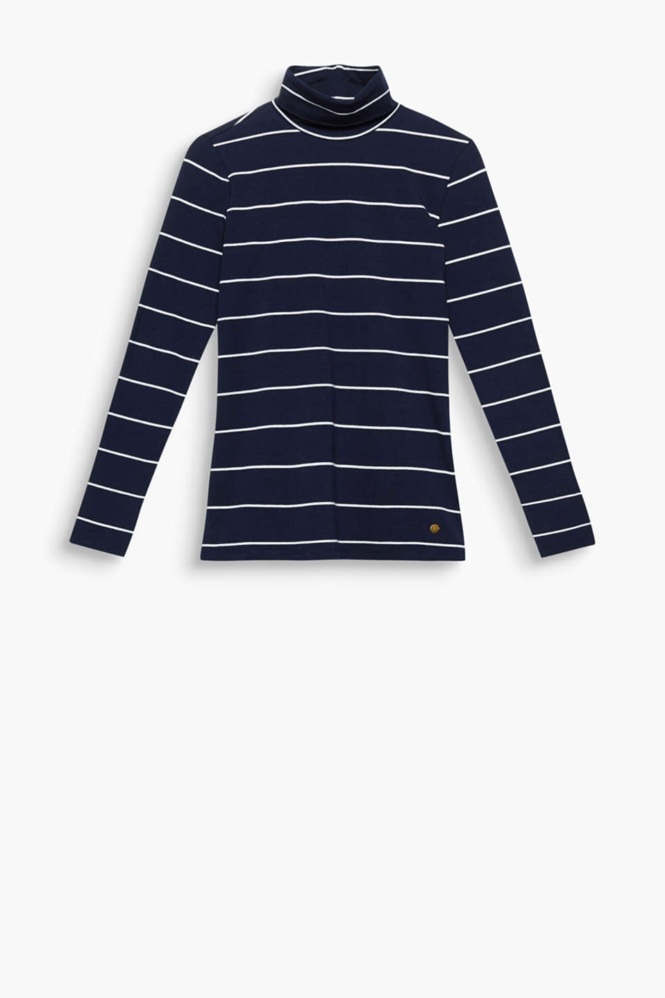 Striped polo neck tops in soft stretch jersey will pep up your outfit – and are extremely comfortable at the same time!