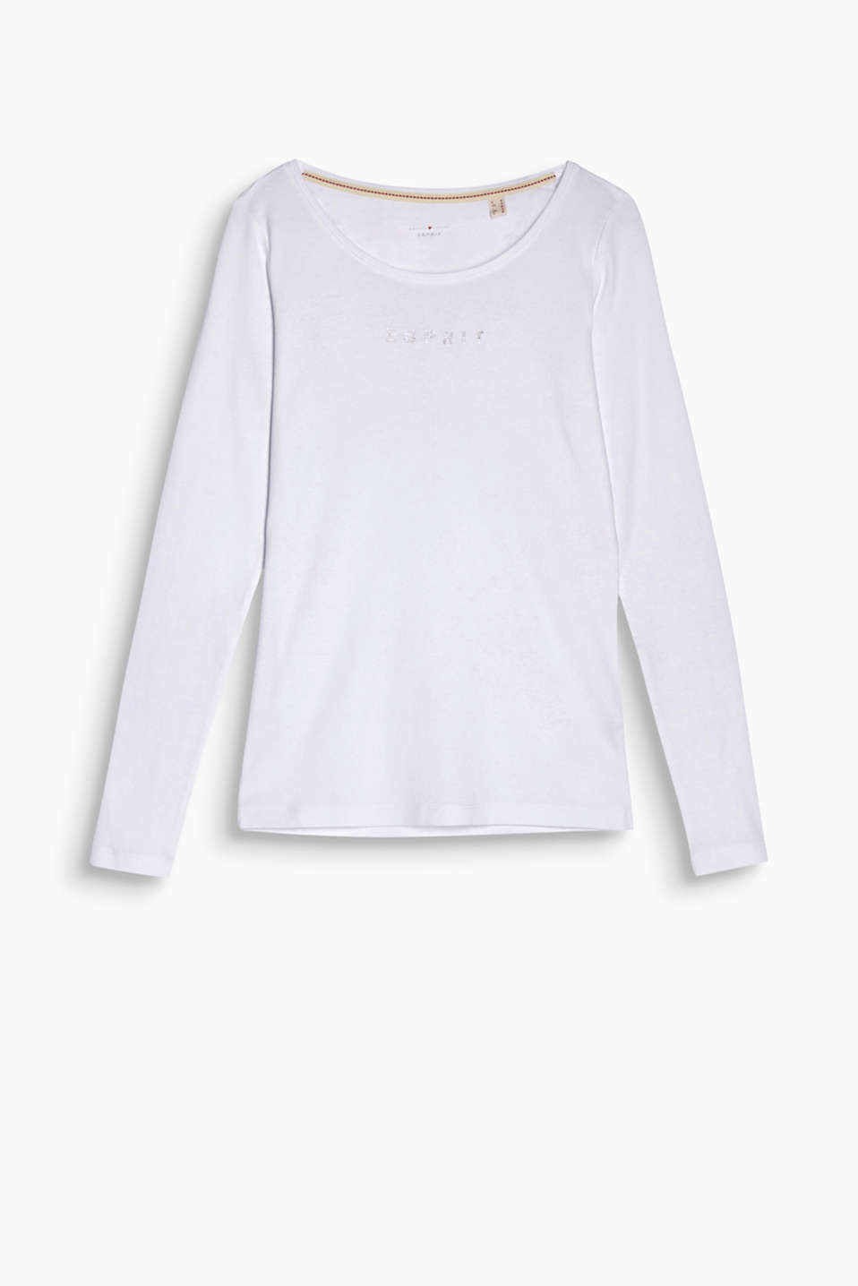 Your comfortable favourite top with a glamorous twist: Long sleeve top in dense jersey with a subtle rhinestone logo