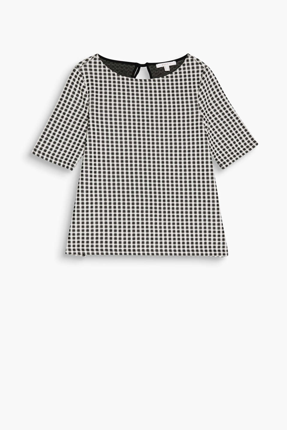 Heavy jersey check top in a fashionable A-line design with a tulle bow on the back
