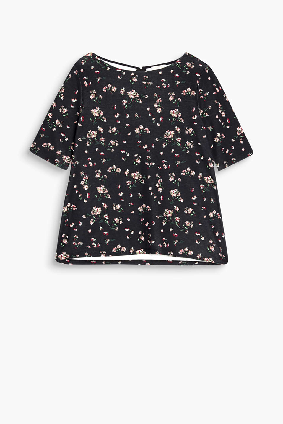 Fluid stretch top with a floral print and diagonal frill