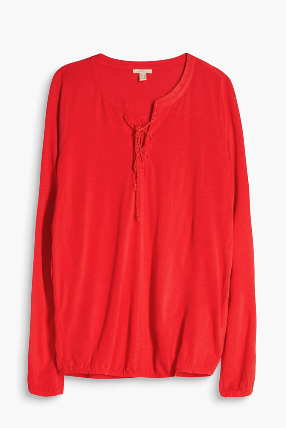 Flowing long sleeve top with lace-up neckline