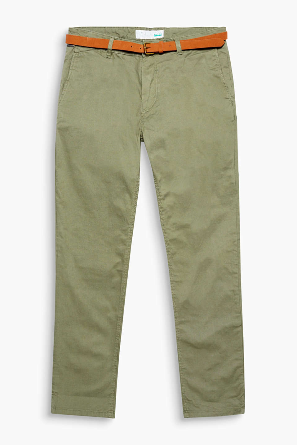 Comfy, stretchy chinos made of organic cotton with a narrow, faux suede belt