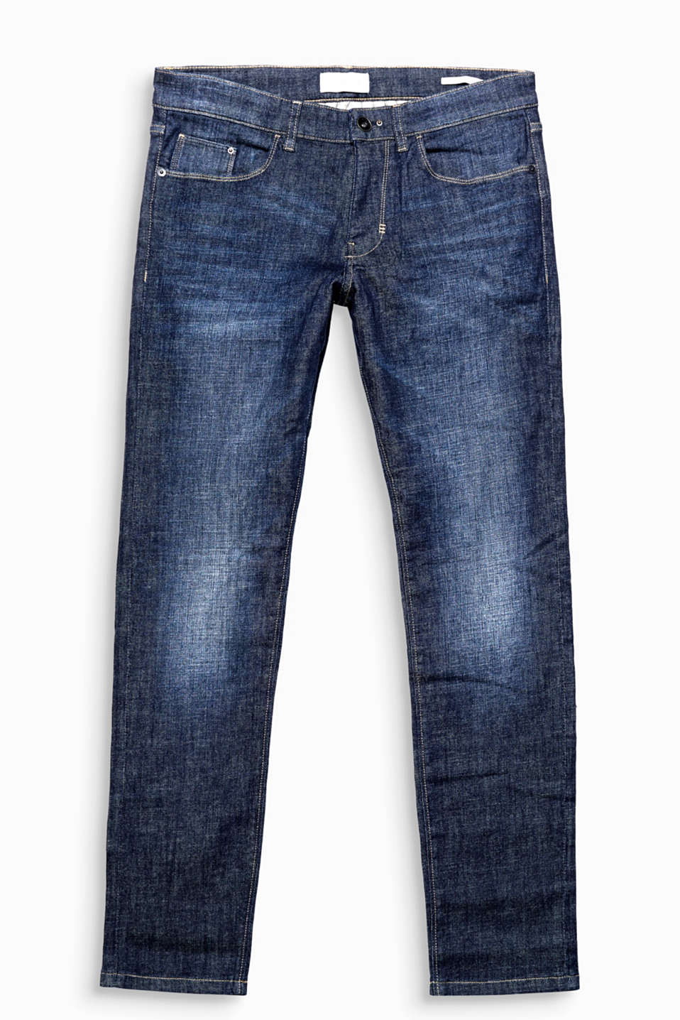 With a soft garment-washed effect and/or distressed effects: slim jeans in cotton denim with stretch