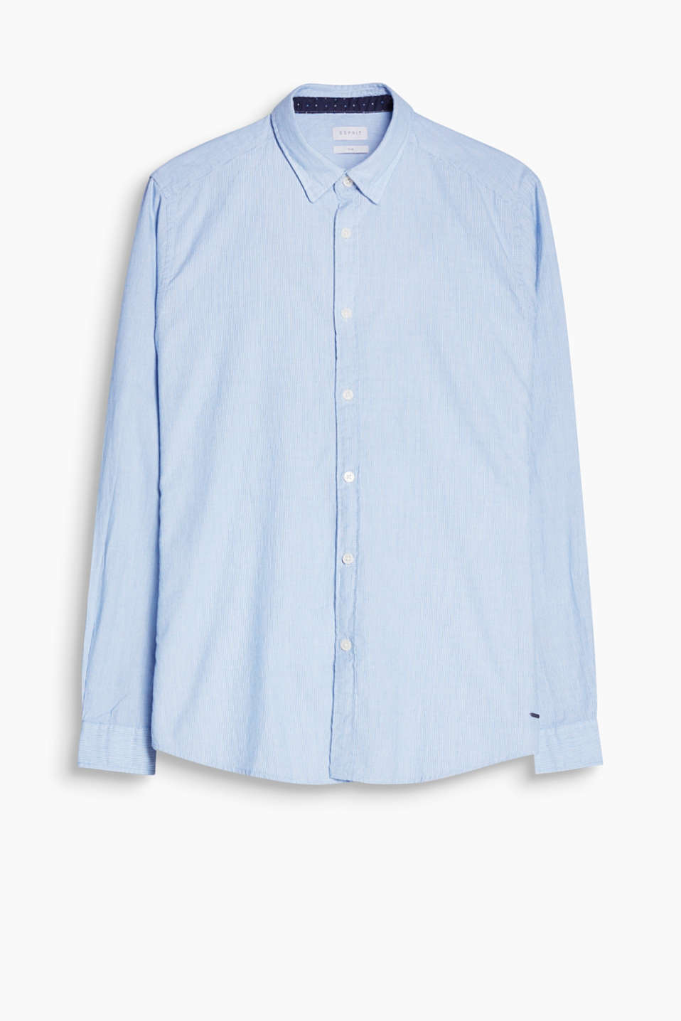 With a concealed button-down collar: finely striped, yarn-dyed shirt in pure cotton
