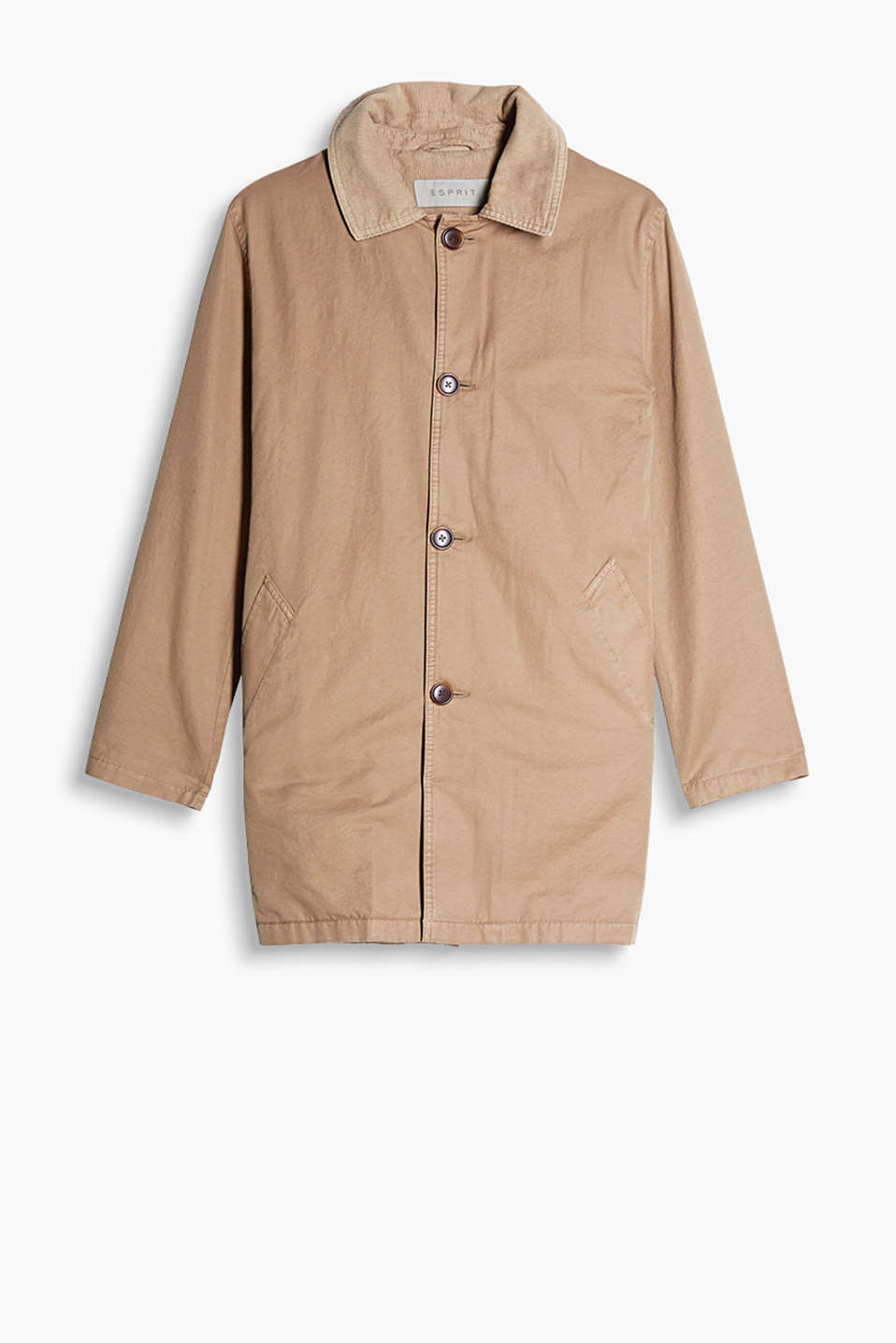 Transitional coat with horn-look buttons, made of pure cotton