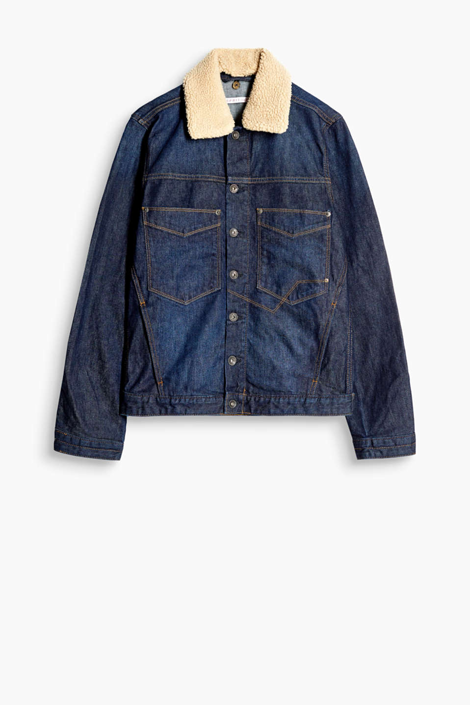 Stretch cotton denim jacket with a detachable sheepskin look collar and patch breast pockets