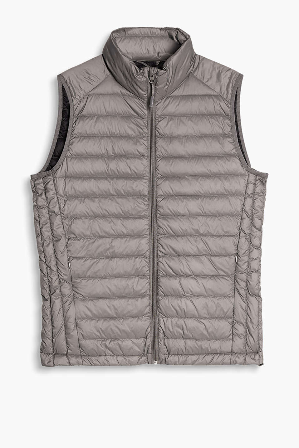Lightweight quilted body warmer with RDS certified down/feather filling and zip pockets