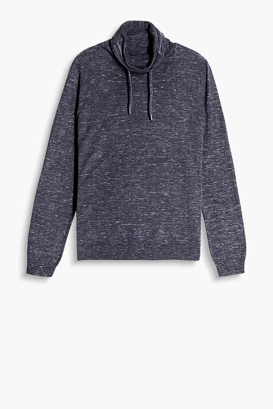 Pure cotton sweatshirt with a high, drawstring stand-up collar