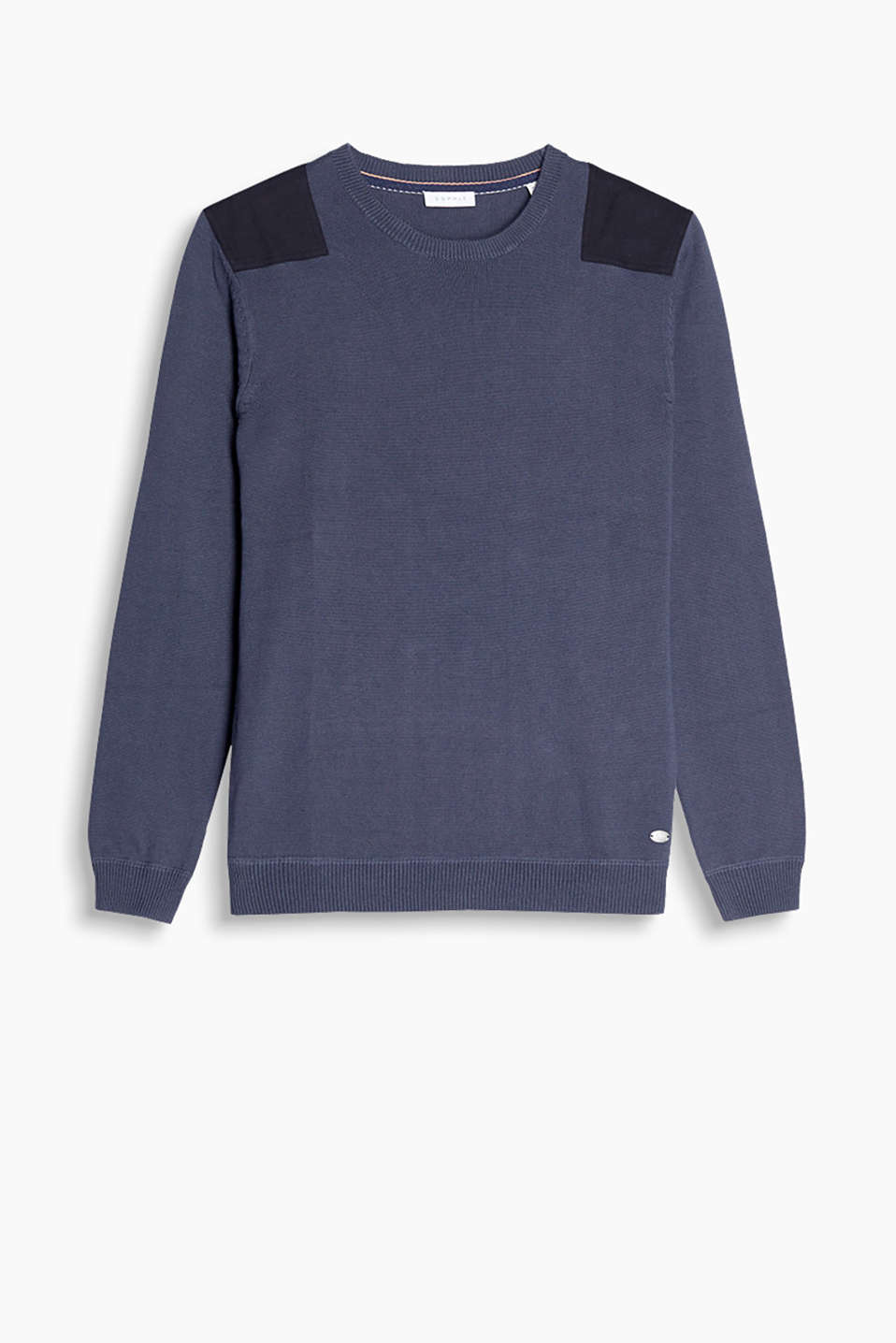 With fabric appliqués on the shoulders: sporty jumper in pure cotton