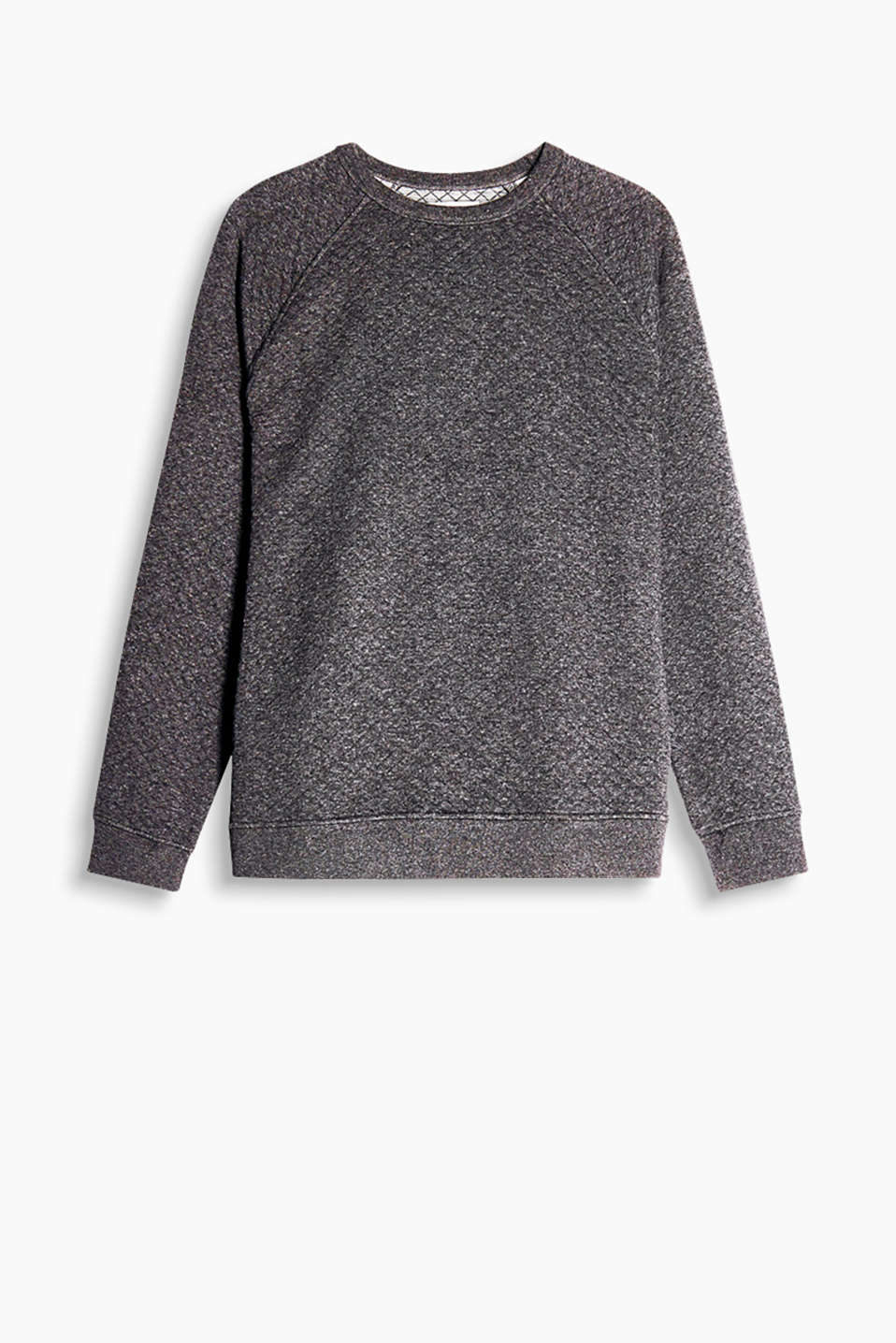 Made of soft blended cotton: Sweatshirt with a round neckline, raglan sleeves and a cross-shaped topstitching