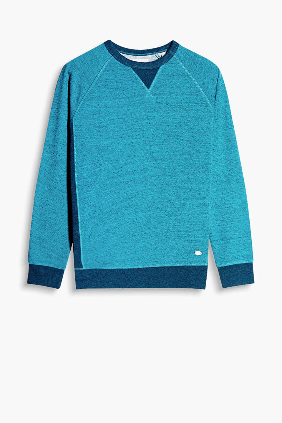Cotton blend sweatshirt with contrasting colour borders along the round neckline, sleeve ends and bottom hem