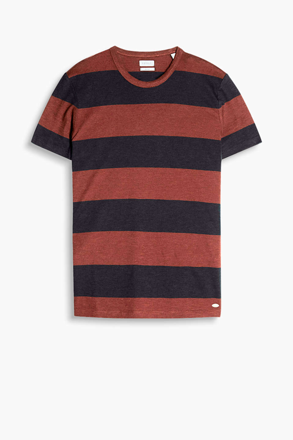 With block stripes: slub jersey T-shirt in 100% cotton
