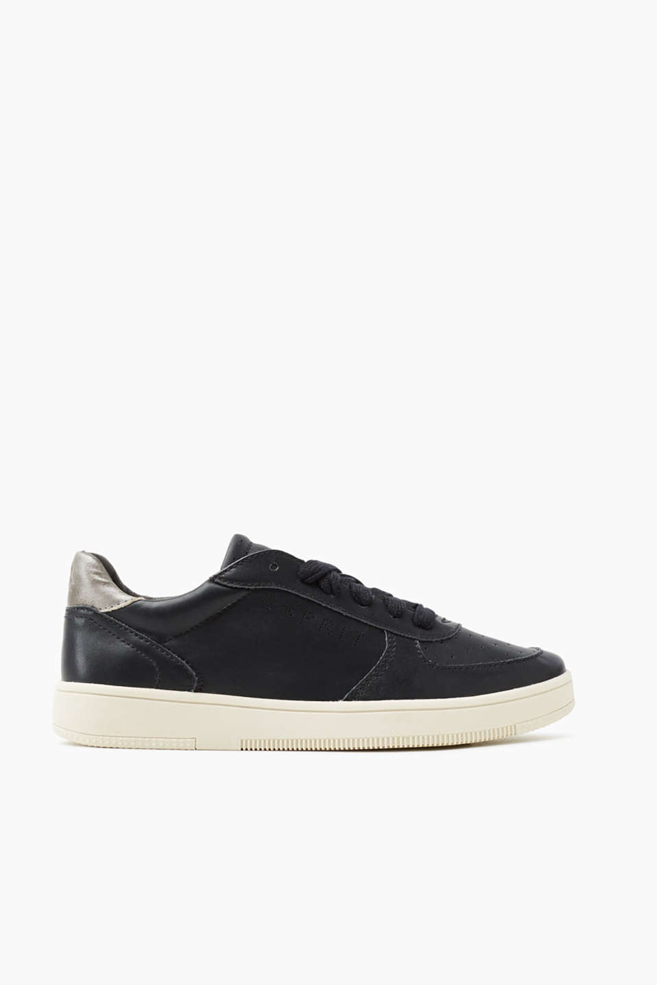 Vegan lace-up trainers with a contrasting rubber outsole