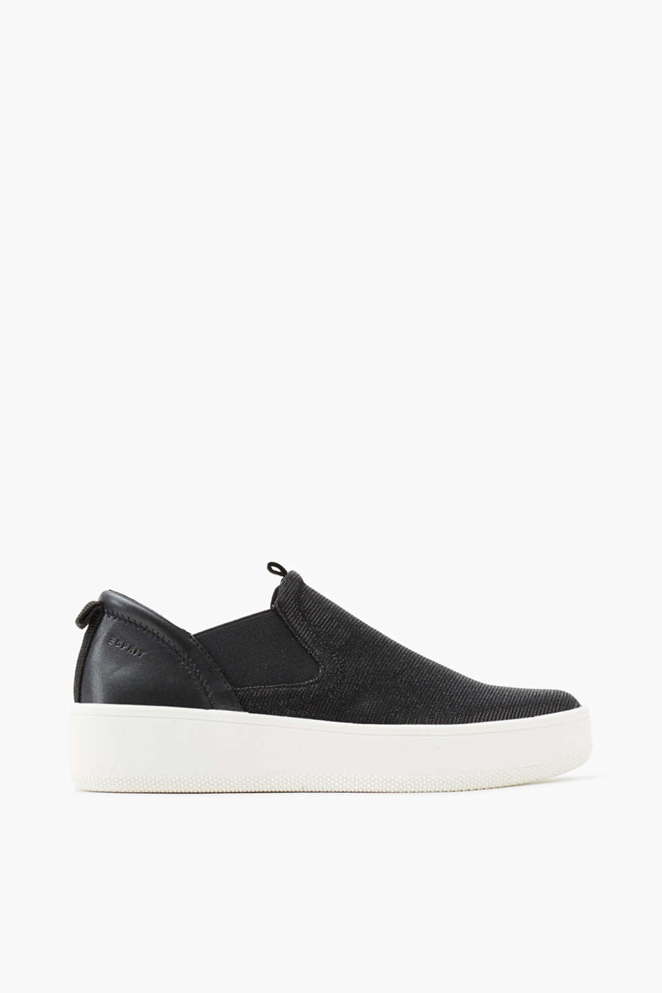 With a distinctive rubber sole: slip-on trainers in a material mix with faux leather and glitter