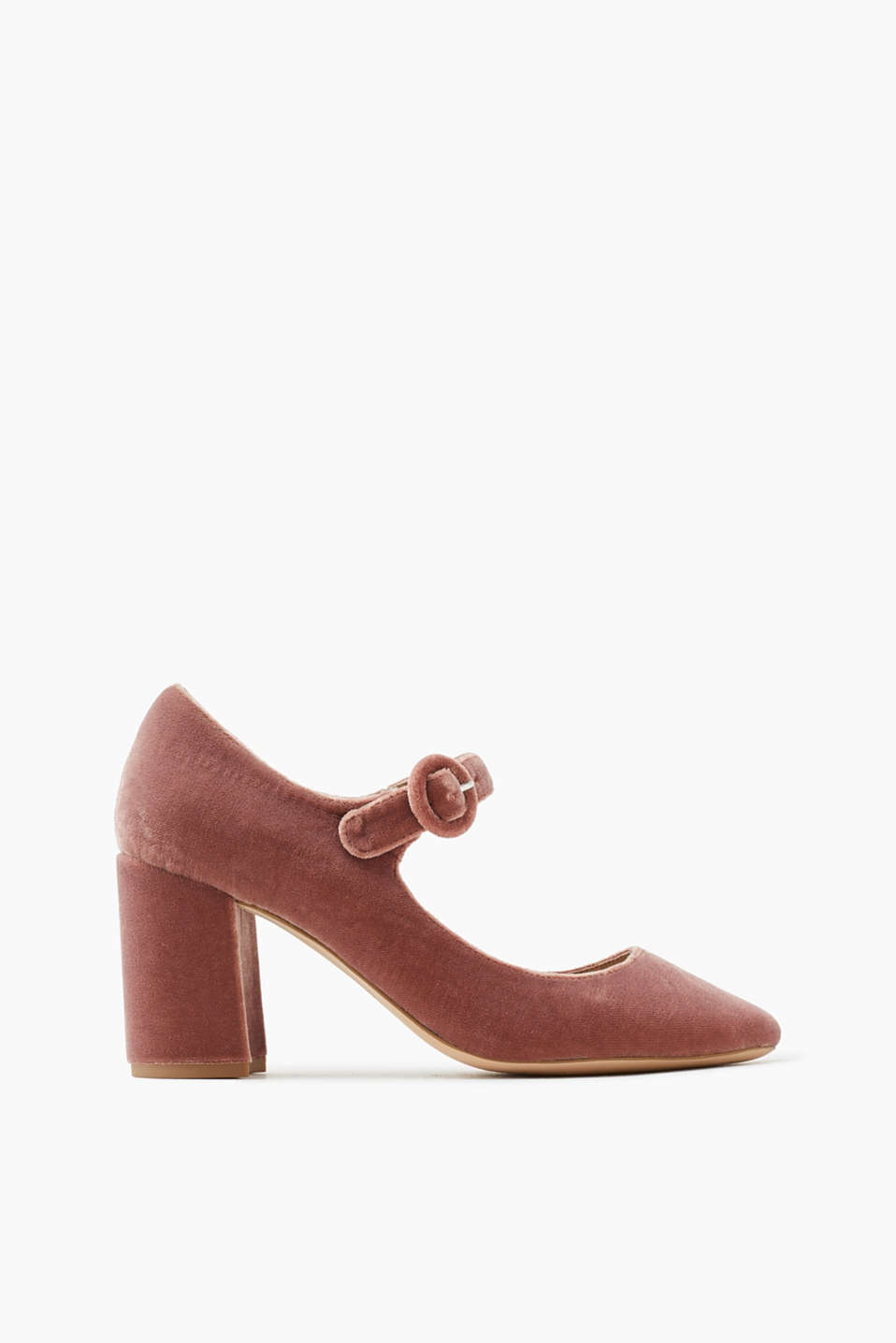 With a block heel: court shoes with a horizontal strap over the foot plus a block heel