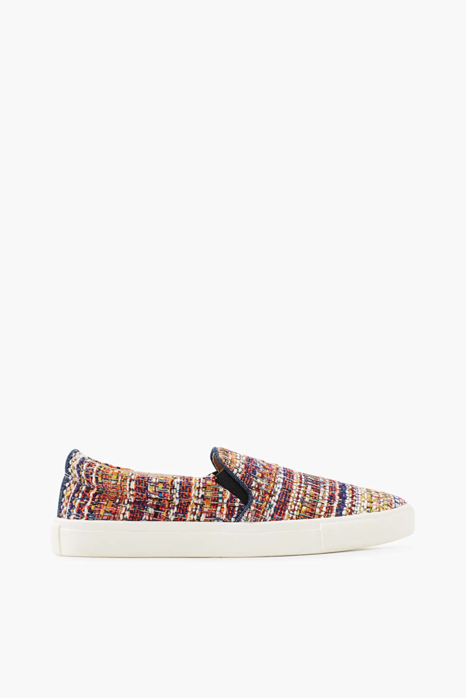Mit Gummisohle: Slip On-Sneaker in farbenfroher Bouclé-Optik