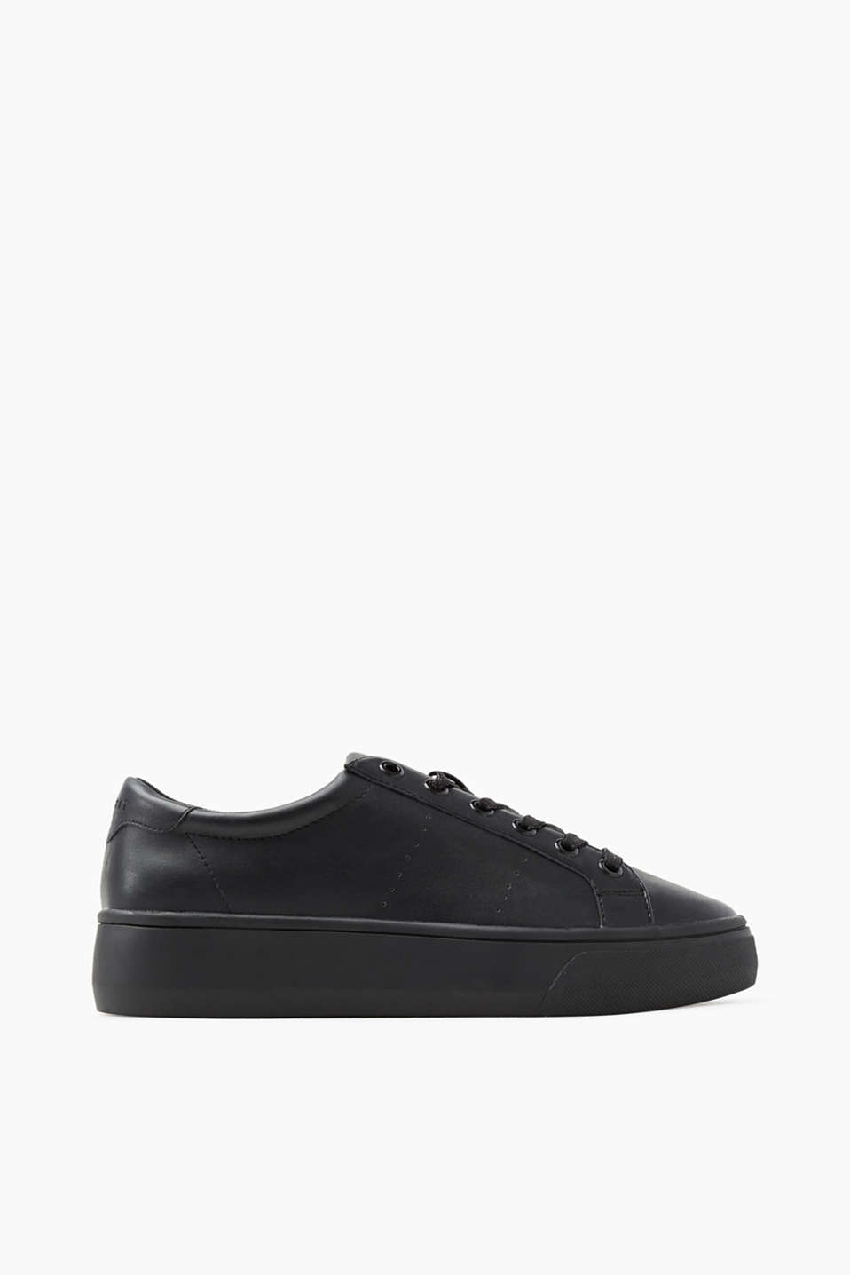 With a distinctive rubber soul: smooth faux leather lace-up trainers