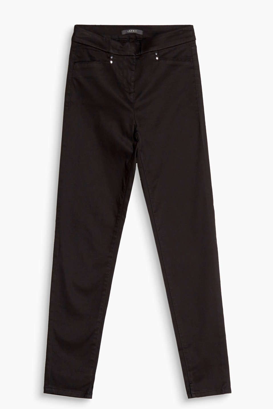 Smooth and shiny: waist height stretch trousers with a fine satin finish and elegant pockets