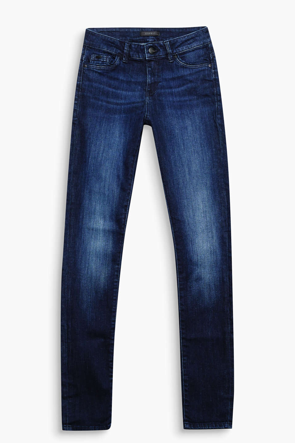 Dark denim jeans in a piped five-pocket design with a high percentage of stretch