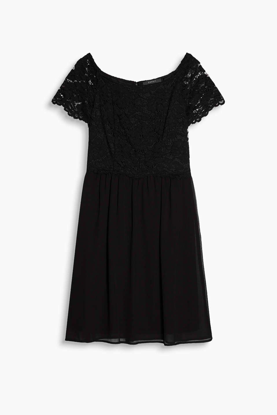 Flared dress in lace and chiffon with a swirling skirt