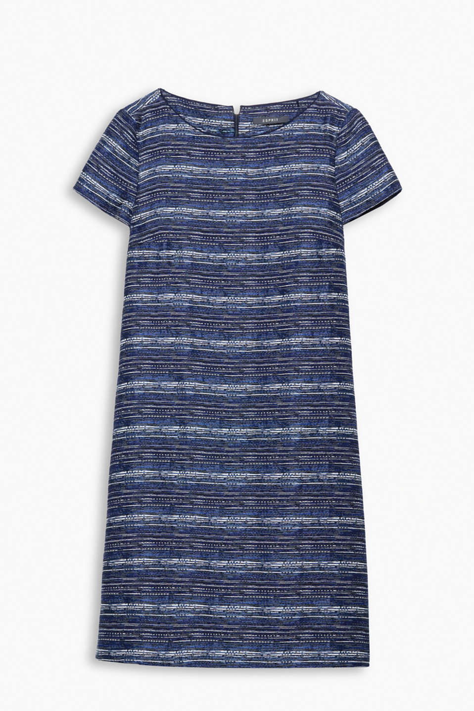 Mini dress with a round neckline and short sleeves in a finely woven cotton blend