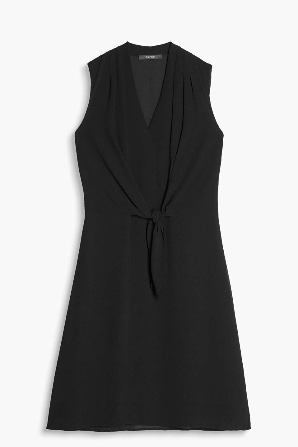 A new little black dress: dress with swirling skirt, pleated neckline and decorative knot detail