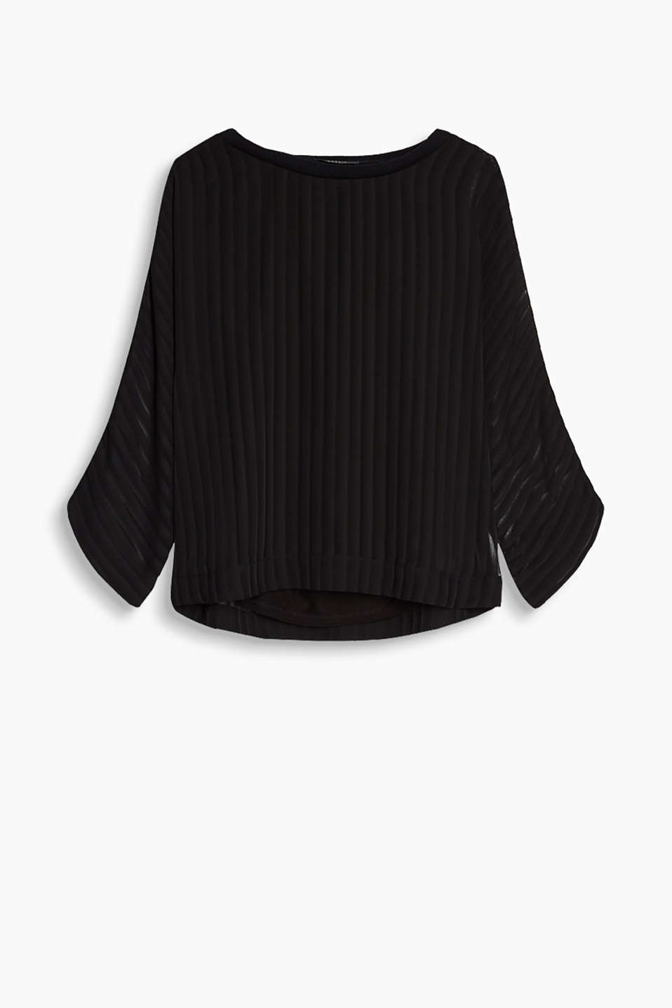 Blouse in flowing chiffon with an integrated top, batwing sleeves and a ribbed round neckline