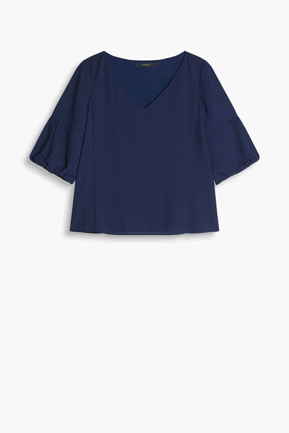 Floaty textured blouse with balloon sleeves and a large V-neckline