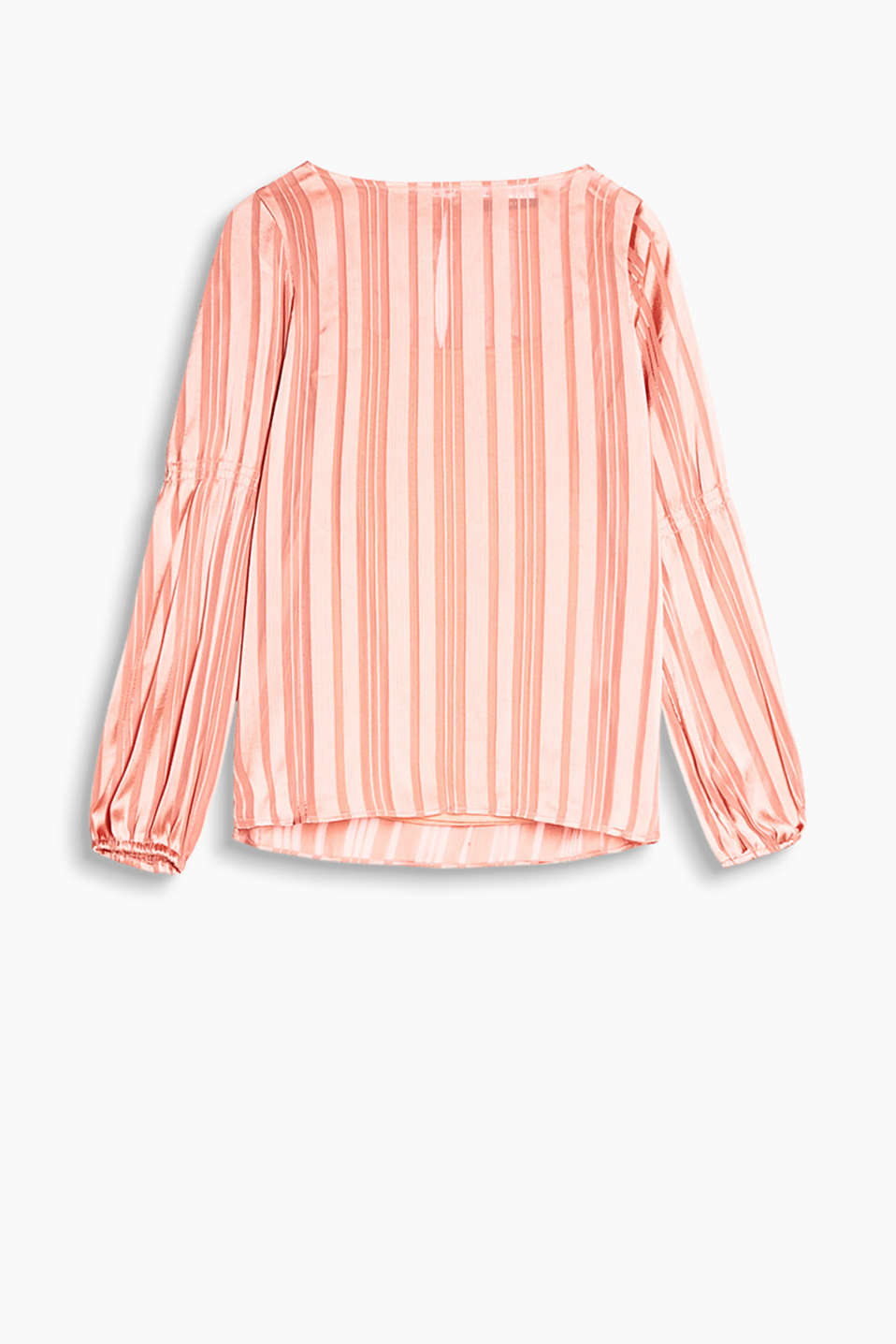 Semi-sheer blouse with shimmering stripes, a detachable spaghetti strap top and balloon sleeves