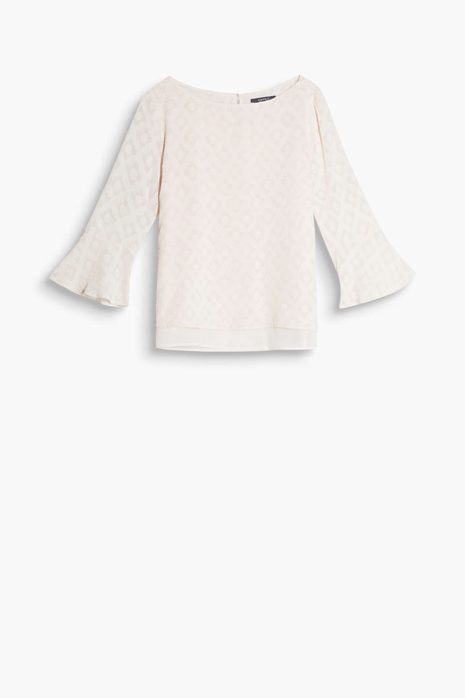 Dainty blouse with a burnt-out pattern, trumpet sleeves and a layered-effect chiffon hem border