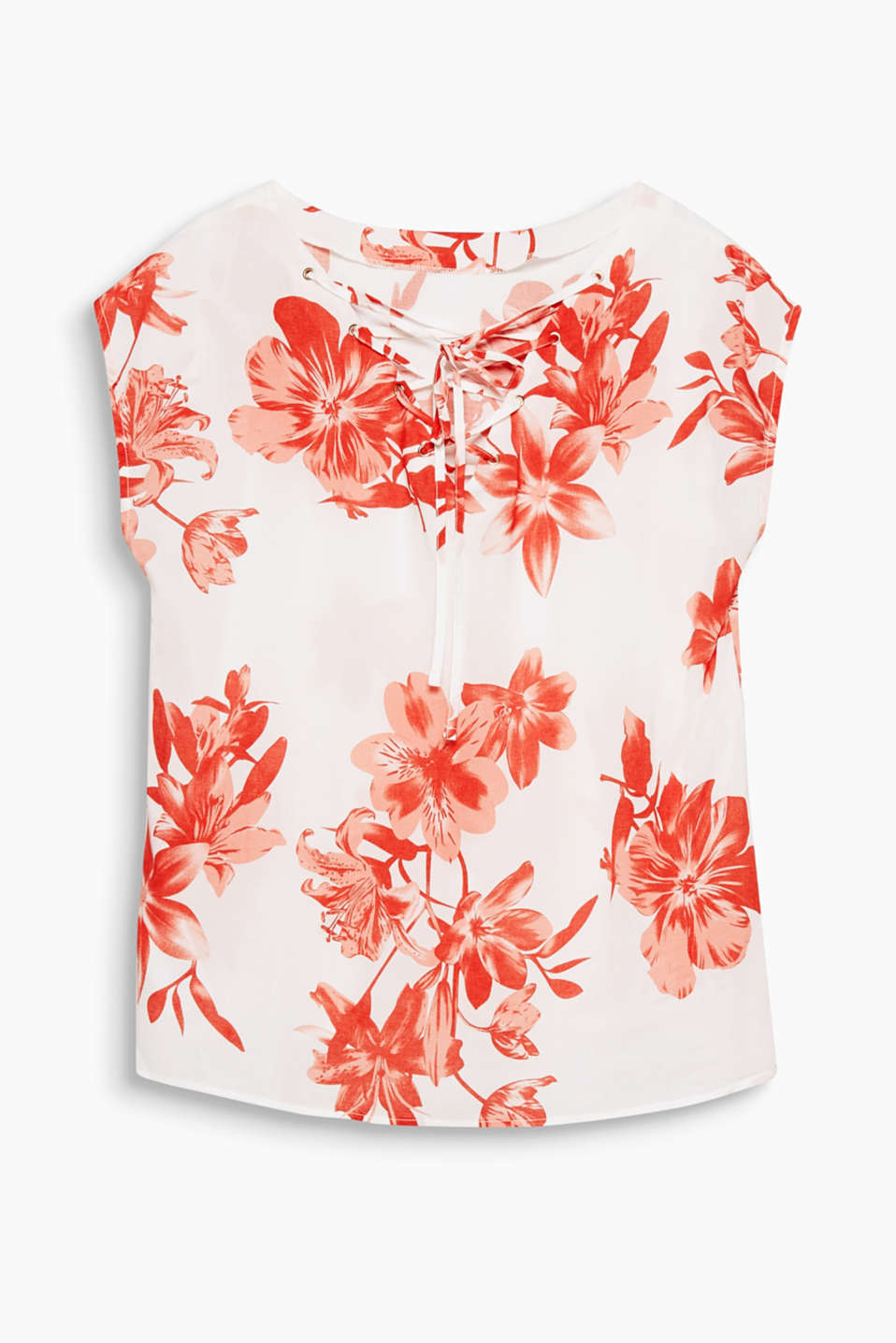 Flowing blouse with a bold floral print and lacing at the back