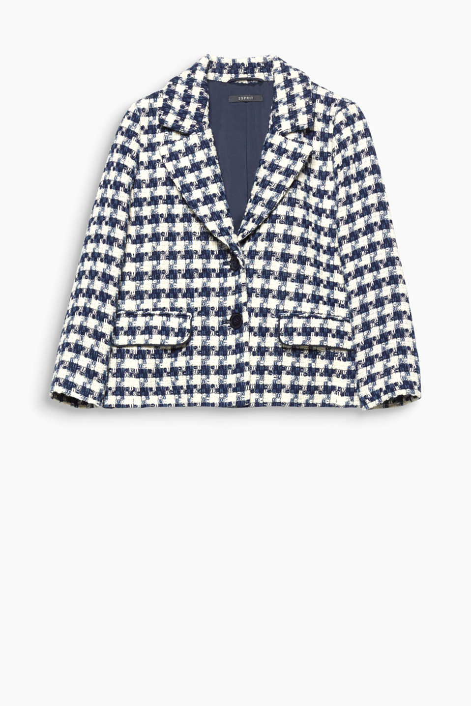 Short and boxy checked jacket with a striking texture, blended cotton