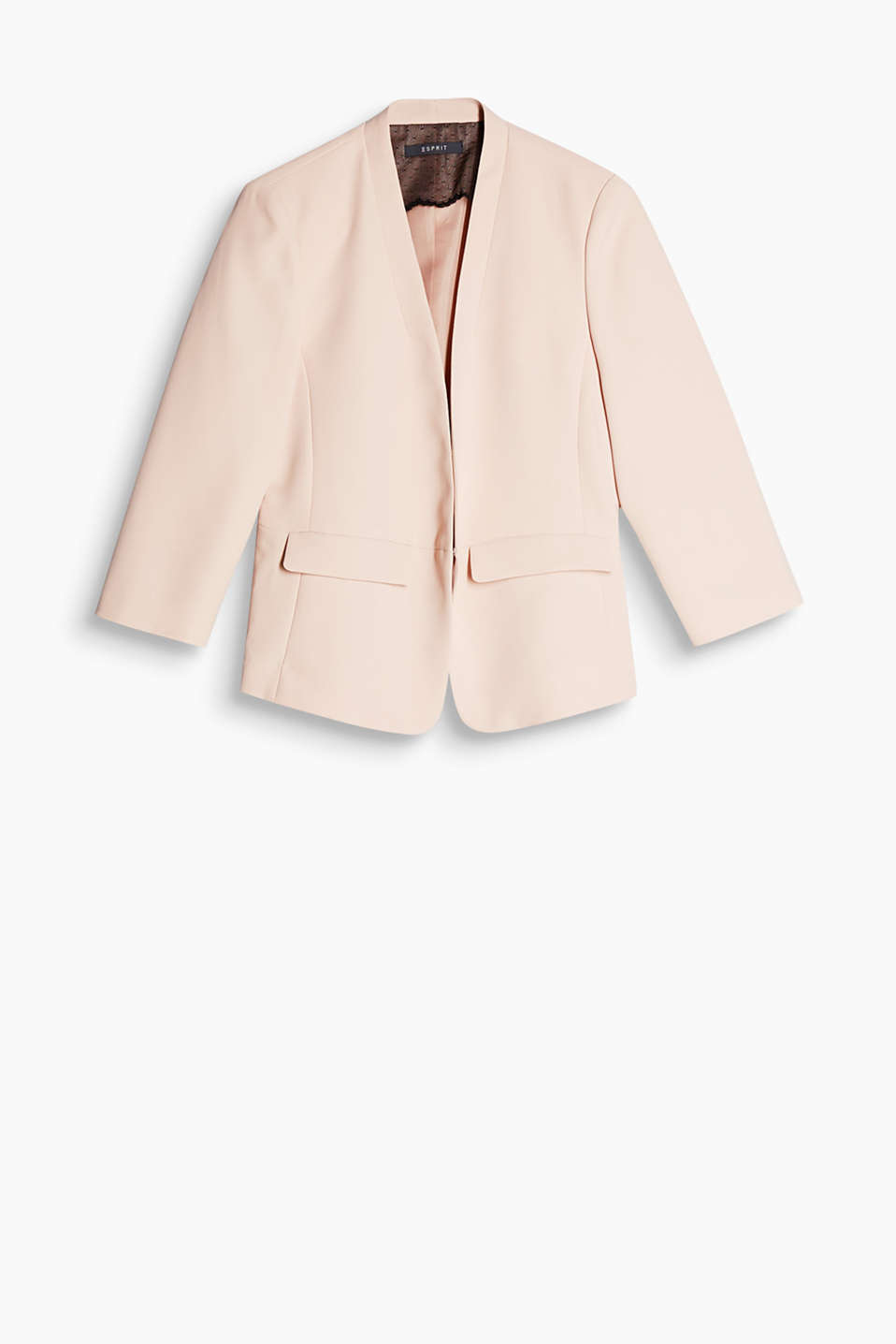 Your outfit saviour for so many occasions: short, lapelless blazer with three-quarter length sleeves and a hook fastening